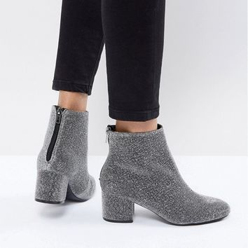 New Look Square Toe Glitter Block Heel Boot at asos.com