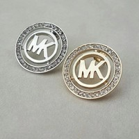 MK button shining rhinestone round shape earrings