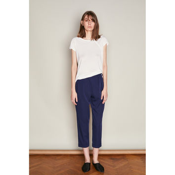 Navy  High Waist Ankle Trousers with Pleats