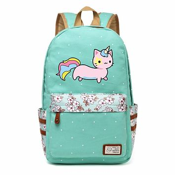 WISHOT Unicorn cat lovely cute Canvas bag Flowers wave point Rucksacks backpack travel Shoulder Bag for girls The small fresh