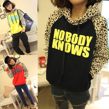 NOBODY KNOWS Print Hooded Leopard Sweatshirt