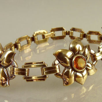 Vintage Engel Bros Gold Filled Amber Flower Bracelet