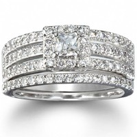 Paige's Vintage Princess Shape Multi Banded Wedding Ring Set