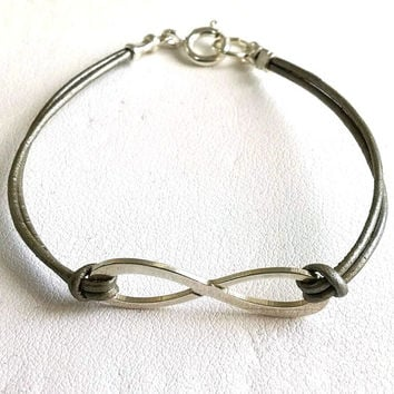 Leather and Sterling Silver infinity Bracelet