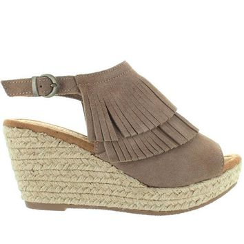 VONES2C Minnetonka Ashley - Taupe Suede Double Front Fringe Espadrille Platform/Wedge Sandal