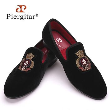 New style men Velvet shoes with Hand stitch Bullion embroidery Party and Banquet Male Loafers Men Flats