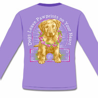 Sassy Frass Comfort Colors Dog Leaves Pawprints on Your Heart Long Sleeve Bright Girlie T Shirt