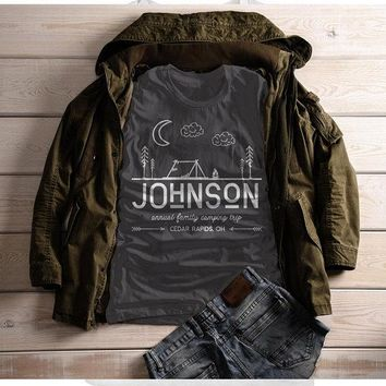 Women's Personalized Camping T-Shirt Tent Line Art Moon Shirts Custom Hipster Tee