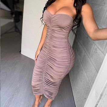 NewAsia Maxi Summer Dress 2019 Ruched Party Dress Women Off Shoulder Sexy Long Bodycon Dress Fashion Runway Slim Elegant Dresses