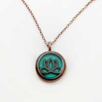 Lotus flower necklace / lotus flower jewelry / spiritual jewelry / copper necklace / copper jewelry / teal jewelry / lotus flower pendant