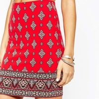 New Look Printed Mini Tube Skirt