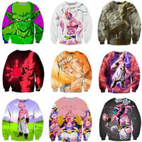 Classic Anime Dragon Ball Z 3D Goku/Majin Buu Print Crewneck Women Men Outerwear 21