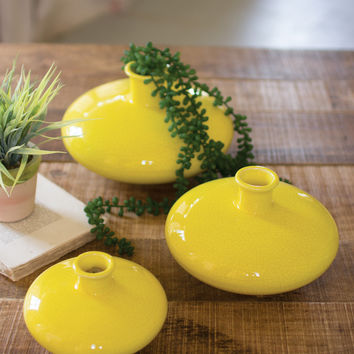 Set of 3 Ceramic Vases- Yellow