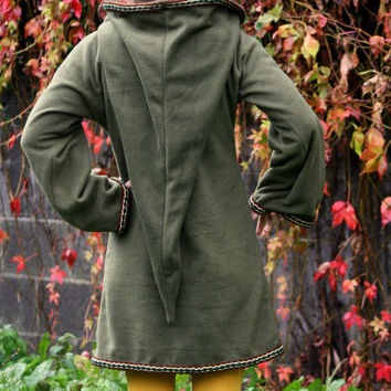 Legend of zelda cosplay costume Khaki Green Elven tunic - Medieval tunic - hyrule - Pixie hoodie - Halloween- festival tunic - pointy hood