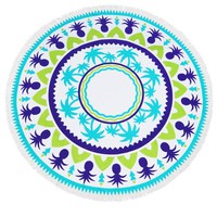 Palm and Pineapple Heavy Terry Round Beach Towels with Deluxe Trim