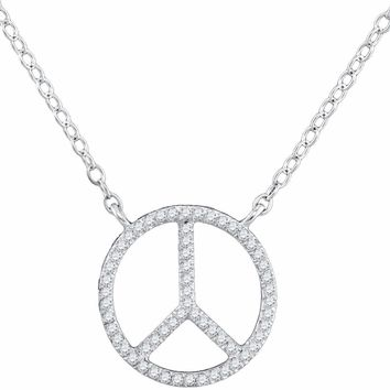10kt White Gold Women's Round Diamond Peace Sign Circle Pendant Necklace 1-6 Cttw - FREE Shipping (US/CAN)
