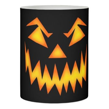 Scary Face Orange on Black Halloween Flameless Candle