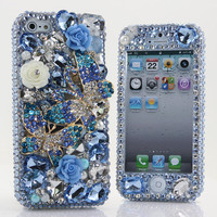 Swarovski Crystal Bling Phone Case  Blue by GlitzedOut on Etsy
