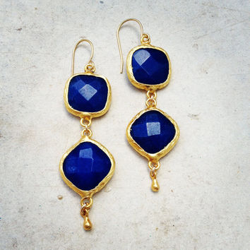 Dangle Earrings long earrings fashion Jewelry navy cobalt blue jade stones gold large bold simple gemstone earrings israel