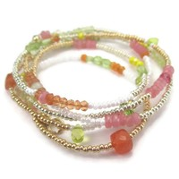 Bright Gemstone Seed Bead Wrap Necklace Pink Orange Yellow