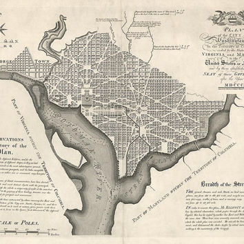 Antique Map of Washington, DC (1792) by Andrew Ellicott - Archival Reproduction