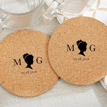 Personalized Round Cork Coasters - English Garden (Set of 12)