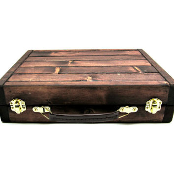 Rustic Wooden Carrying Case with Handle and Repurposed Brass Colored Latches - Handmade Shallow Wood Box