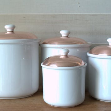 White Kitchen Canister Set, White Kitchen Canisters with Copper Lid