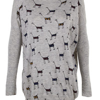 GIRAFFE print top jumper knitwear oversized top shirt womens ladies cardigan