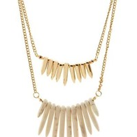 Gold Layered Spike Statement Necklace by Charlotte Russe