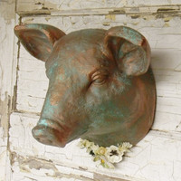 Faux Taxidermy,Faux Animal Heads,Faux Pig Head,Pig Home Decor,Copper Pig Wall Decor,Kitchen Wall Decor,French Country Decor,Farmhouse Decor