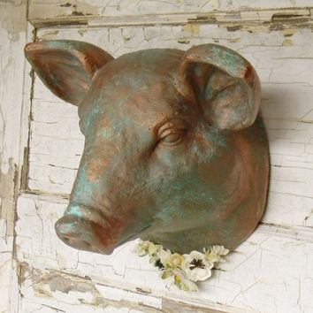 faux taxidermyfaux animal headsfaux pig headpig home decorco - Animal Head Wall Decor
