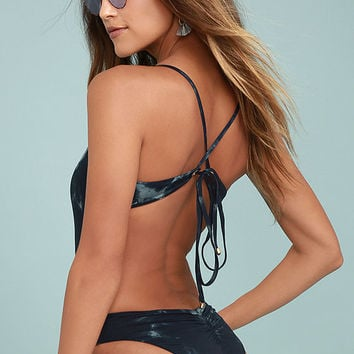 Blue Life Whirlpool Navy Blue Tie-Dye Lace-Up One Piece Swimsuit