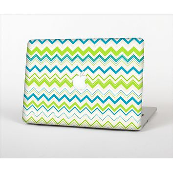 The Green & Blue Leveled Chevron Pattern Skin Set for the Apple MacBook Pro 13""