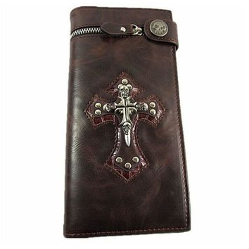 Men Skull Cross Leather Wallet Rocker Biker Trucker Punk Gothic Long Purse With Chain
