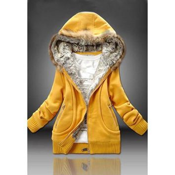 Solid Color Faux Fur Hood Pocket Zip-Up Coat