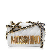 Moschino Designer Handbags White Quilted  Nappa Leather Shoulder Bag w/Golden Logo and Chain Strap