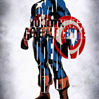 Captain America Inspired Typographic Print and Poster