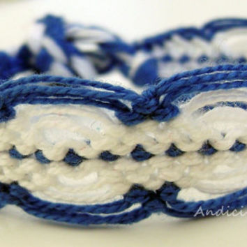 White - Blue colored Friendship Bracelet - Made to order