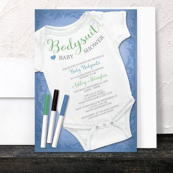 Decorating Bodysuit Baby Shower Invitations - Blue Infant Bodysuit Decorating Activity Baby Shower - Printed Invitations