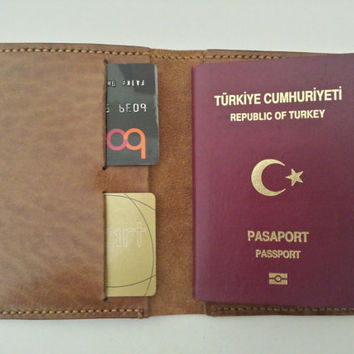 Passport Cover-Personalized Leather Passport Holder with Two Card Slots in Light Brown Color 100% Italian Vegetable Tanned Leather Handmade