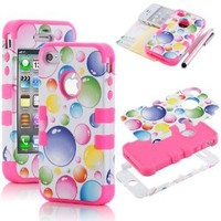 Pandamimi ULAK Corlorful Hard Hybrid Case Cover Rubberize Pink Silicone TUFF for Apple iPhone 4 4S + Screen Protector + Stylus