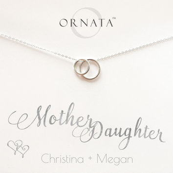"""""""Mother Daughter Necklace"""" Personalized Sterling Silver Necklace   Small"""