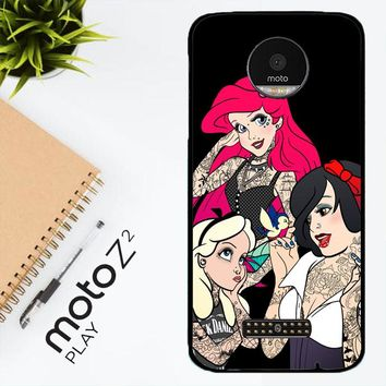 Snow Ariel And Alice Punk Tattoos Disney Princess  Z0207 Motorola Moto Z2 Play Case