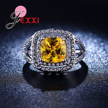 JEXXI Full Micro Zirconia Shiny Rhinestone Inlaid Geometric Cut Finger Jewelry Fashion Yellow Crystal Mosaic Women Party Rings