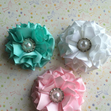 1 flower applique,satin flower applique,scrapbooking,embellishment, card making, sewing, hair bows, gift wrapping,headbands.