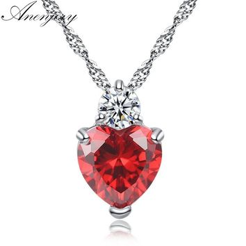 Anenjery Exquisite AAA+ Zircon Red Heart Love Pendant Necklace For Women Collares Wedding Bridal Jewelry T-N37
