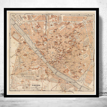 Old Map of Florence Firenze, City Plan  Italia 1900