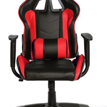 TimeOffice Ergonomic Gaming Chair Race Car Style with PU leather and Lumbar&Head Cushion for Computer Gaming and Office Working,Red