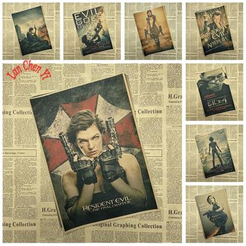 Resident Evil Matte Kraft Paper Poster Office Gift Room Dining Home Decor wall sticker Design